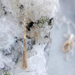 Icicle Necklace - Simple Long Drop Pendant on Fine Chain