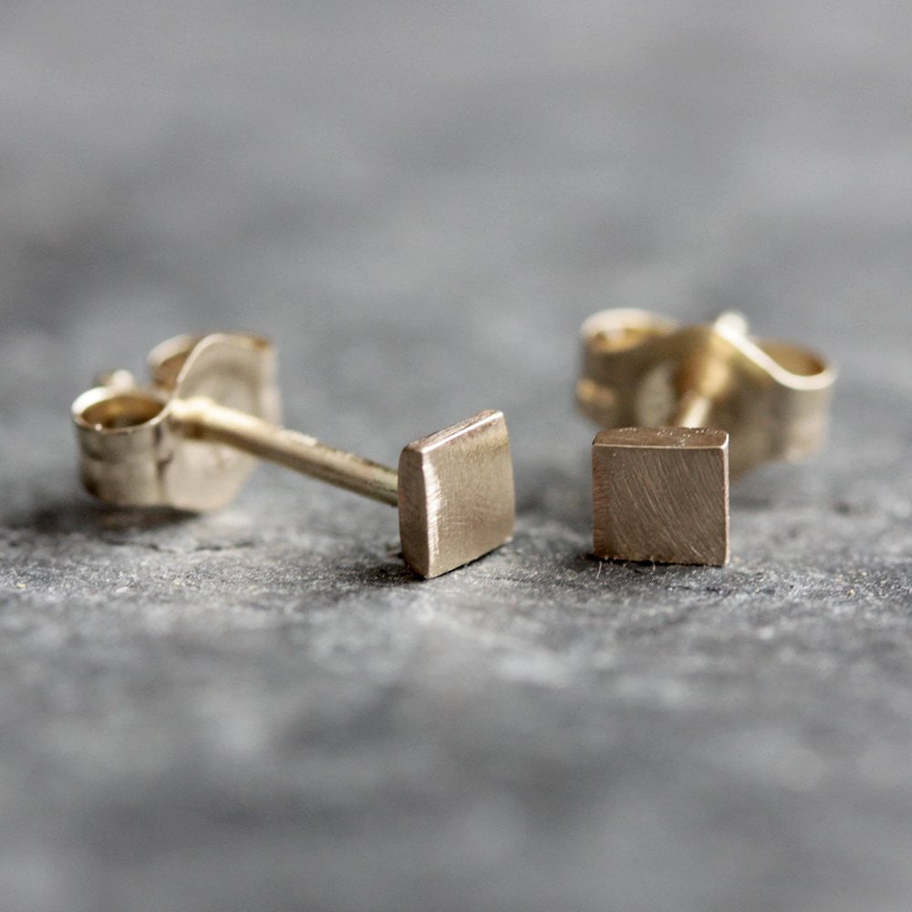 14k Square Post Earrings - Simple Geometric Studs in Solid 14k Yellow Gold