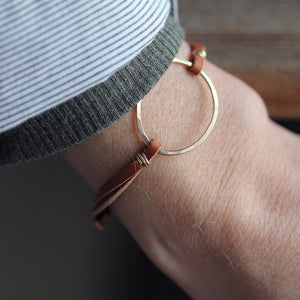 Olivia Circle Bracelet on Leather Cord, Handmade in Either Sterling Silver or 14k Gold Fill
