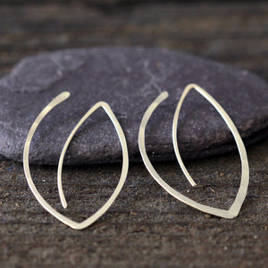 Winter Leaf Hoops - Nature Inspired Minimalist Leaf Hoop Earrings
