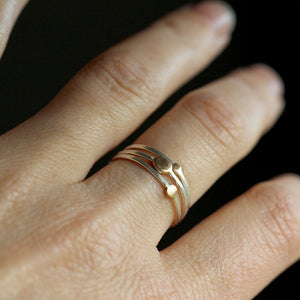 North Star Stacking Rings - set of 3 - 14k Rose or Yellow Gold Dot Stackers