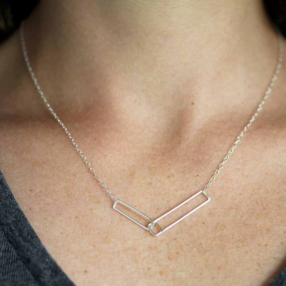 Pyra Necklace - Linked Rectangle Pendant with Intricate Line Detail in Silver or 14k Gold