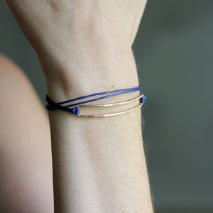 Mura Wrap Bracelet - Geometric Wrapping Design With Rectangle Detail and Cotton Cord
