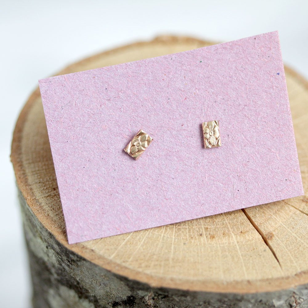 Emily Posts - Rectangular 14k Gold Posts With A Distressed Pattern and Texture