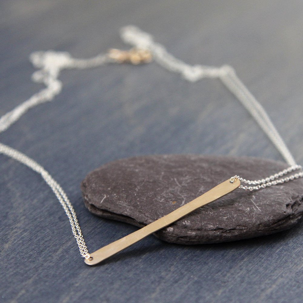 Merus Necklace - Minimalist Necklace With a Handmade Hammered Bar Pendant