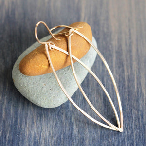 Lily Earrings: Minimalist Geometric Design, Pointed Ellipse Shapes on French Hooks