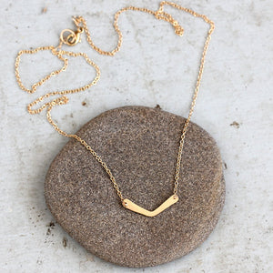 Harpswell Necklace - Mini Chevron Pendant on Simple Chain