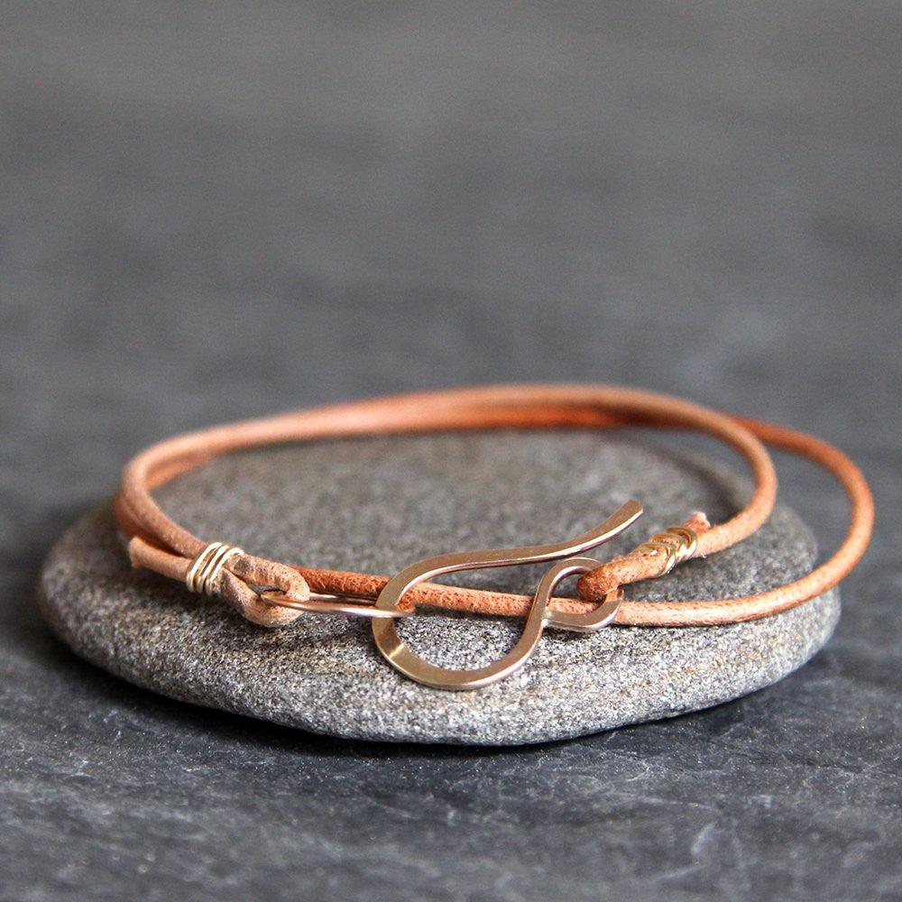 Wren Bracelet - Handmade Simple Leather Wrap Bracelet With Simple Handmade Clasp