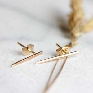 Spike Posts- Minimalist Edgy Stud Earrings in Recycled Solid 14k Gold or Sterling Silver
