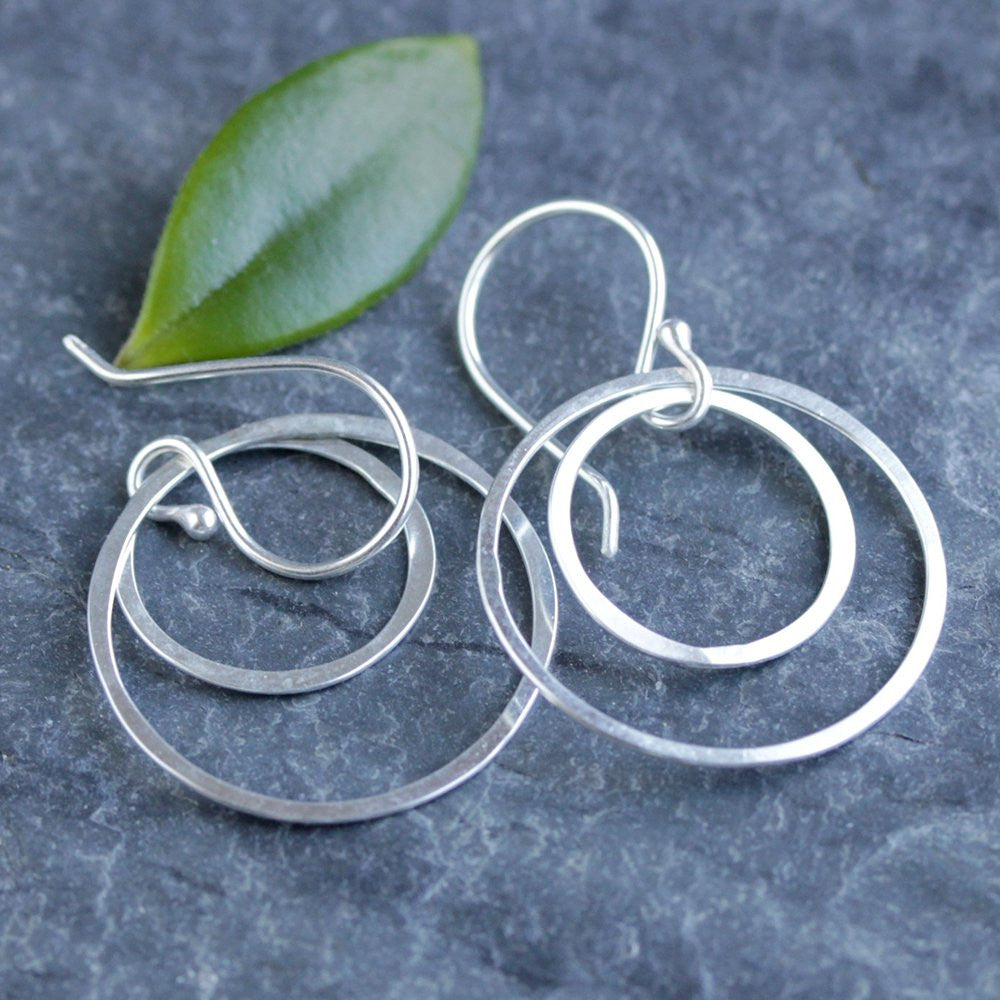 Halo Earrings - Simple Geometric Earrings With Two Nested Circles