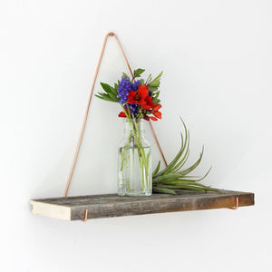 Copper and Barn Board Accent Shelf - Small Rustic Modern Hanging Shelf