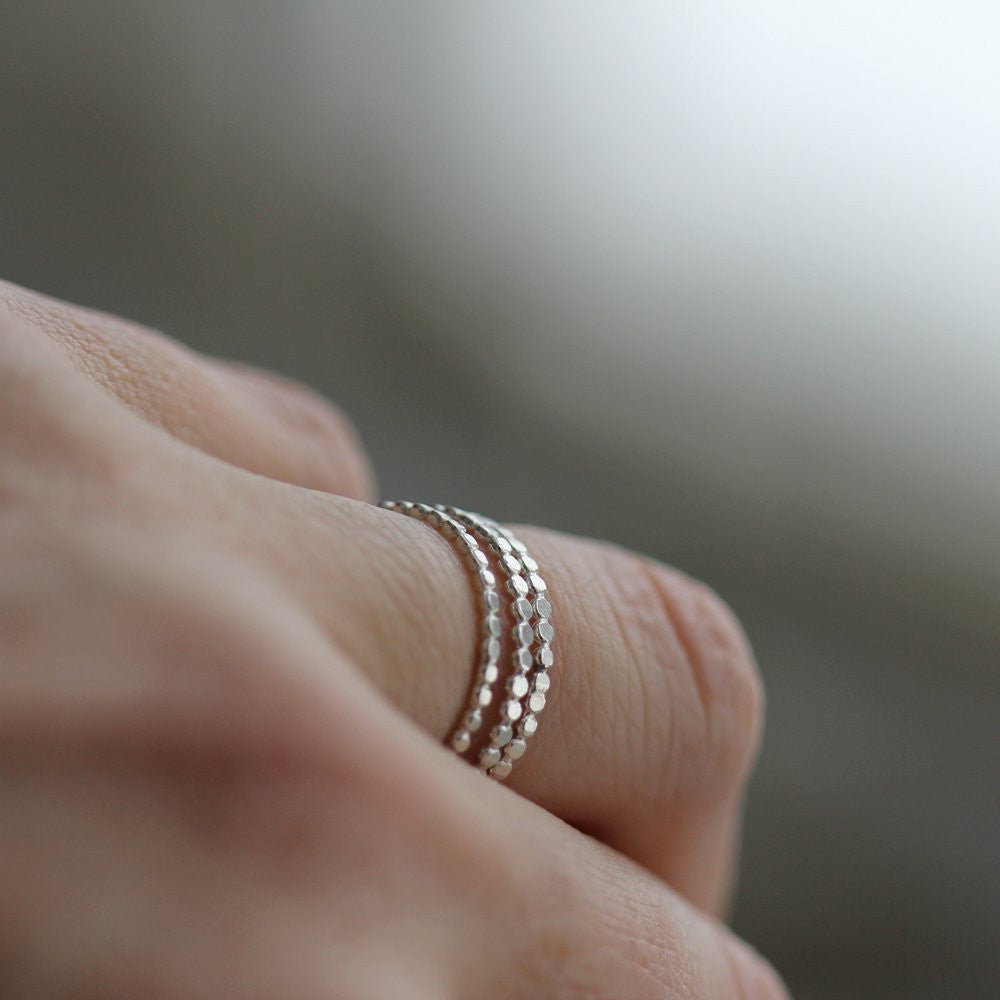Orbit Stacking Rings - Bubbled Contemporary Band in Sterling Silver