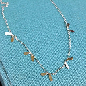 Flutter Necklace - Delicate Hammered Petal Necklace, Handmade and Inspired by Nature