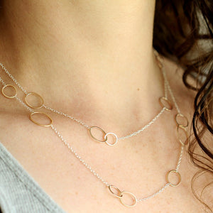 Double Wrap Amelia Necklace - Clustered Handmade Circles on Modern Chain