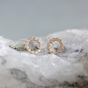 Orbit Posts - Simple and Geometric Textured Circle Post Earrings in 14k Gold or Sterling SIlver