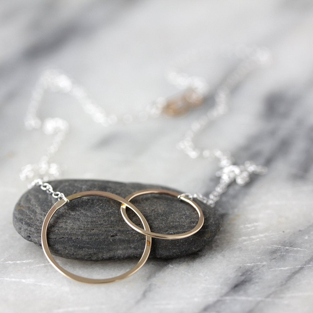 Mima Necklace - Asymmetrical Linked Circle Necklace, Delicate Hammered Circles on Chain