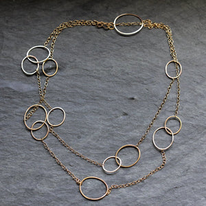 Echo Necklace - Asymmetrical Long Necklace or Double Wrap Necklace With Asymmetrical Circles