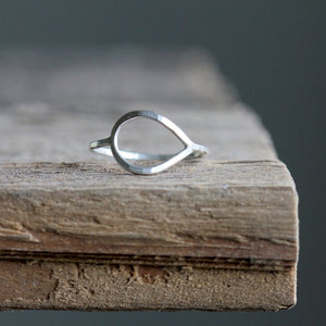 Open Petal Ring - Simple Sideways Teardrop Ring Available in Sterling, Gold Fill, or Solid 14k
