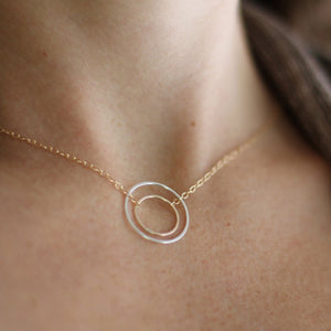 Halo Necklace - Circular Aura Pendant on Matching Chain