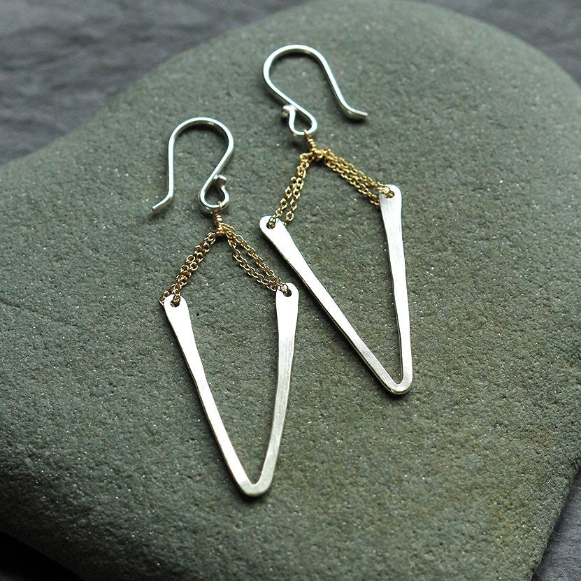 Deep Chevron Earrings - Edgy Hammered Charm on Handmade Earwires