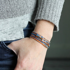 Tern Bracelet - Triple Wrap Suede Design With Two Accent Color Cotton Cords