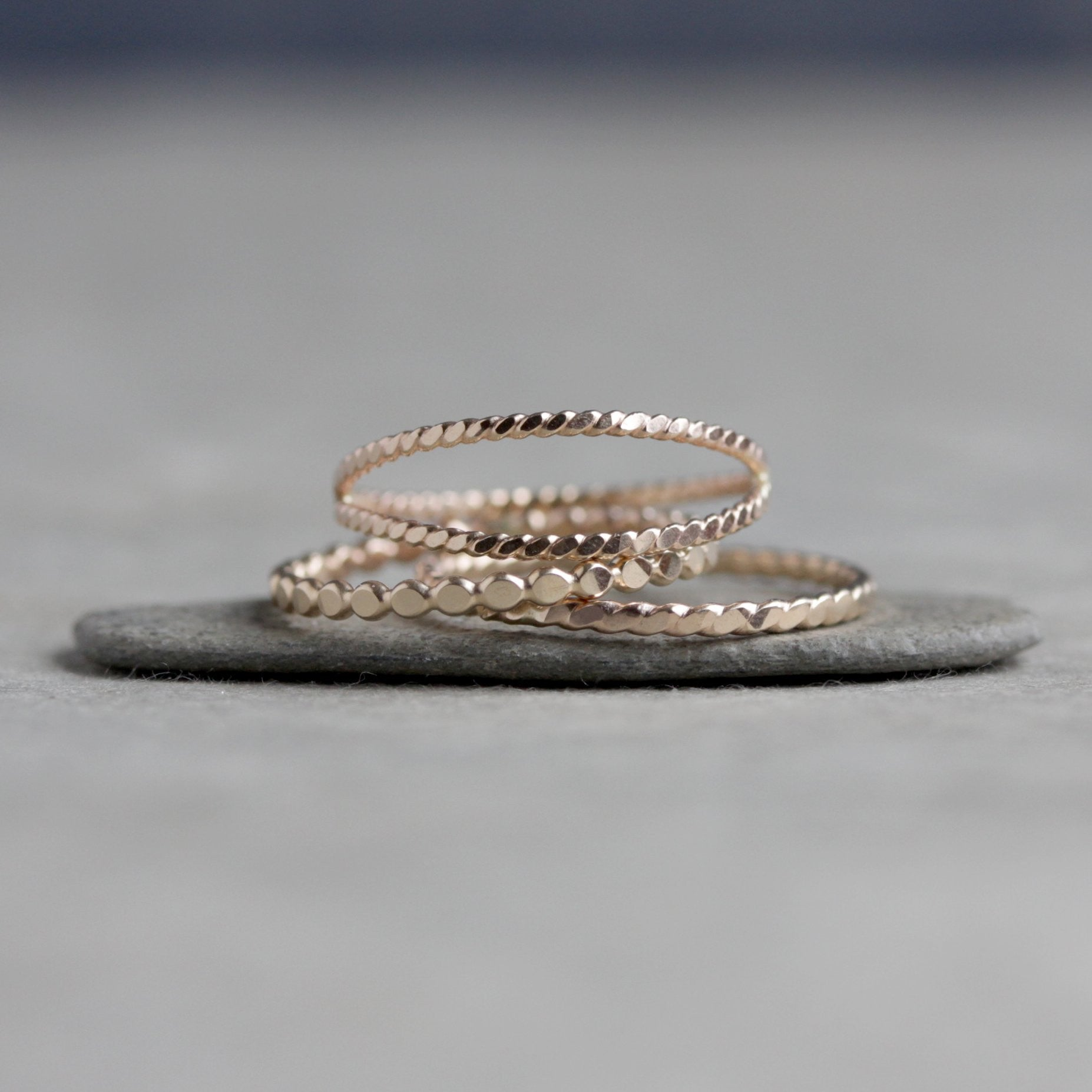 Simple Solid Wave Stackable Ring in 14K Yellow Gold