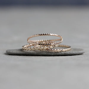 Simple Twist Band - Textured Stacking Ring in Sterling Silver or 14k Gold