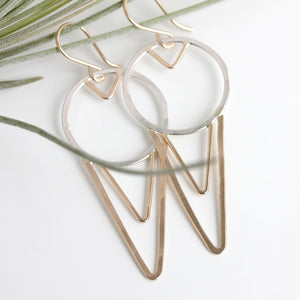 Sheartail Earrings - Dangle Earrings With a Bird Wing Inspired Geometric Pattern