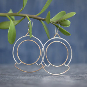 Glyph Earrings - Intricate Hammered Wire Pattern Statement Design