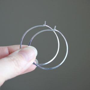 Simple Boho Hoops - Hammered Wire Hoop Earrings in Three Sizes