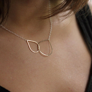 Mima Teardrop Necklace - Delicate Design with Two Linked Teardrop Pendant