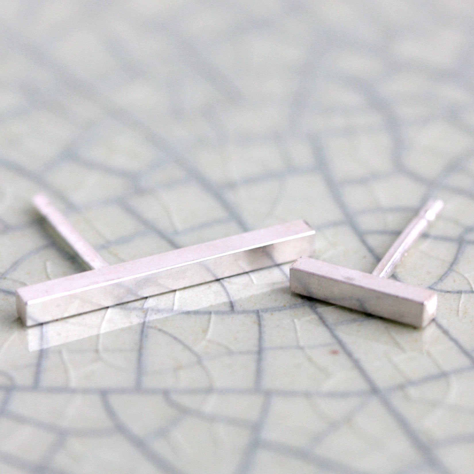 Asymmetrical Bar Post Earrings - Minimalist Mismatched Line Studs made from Recycled Silver