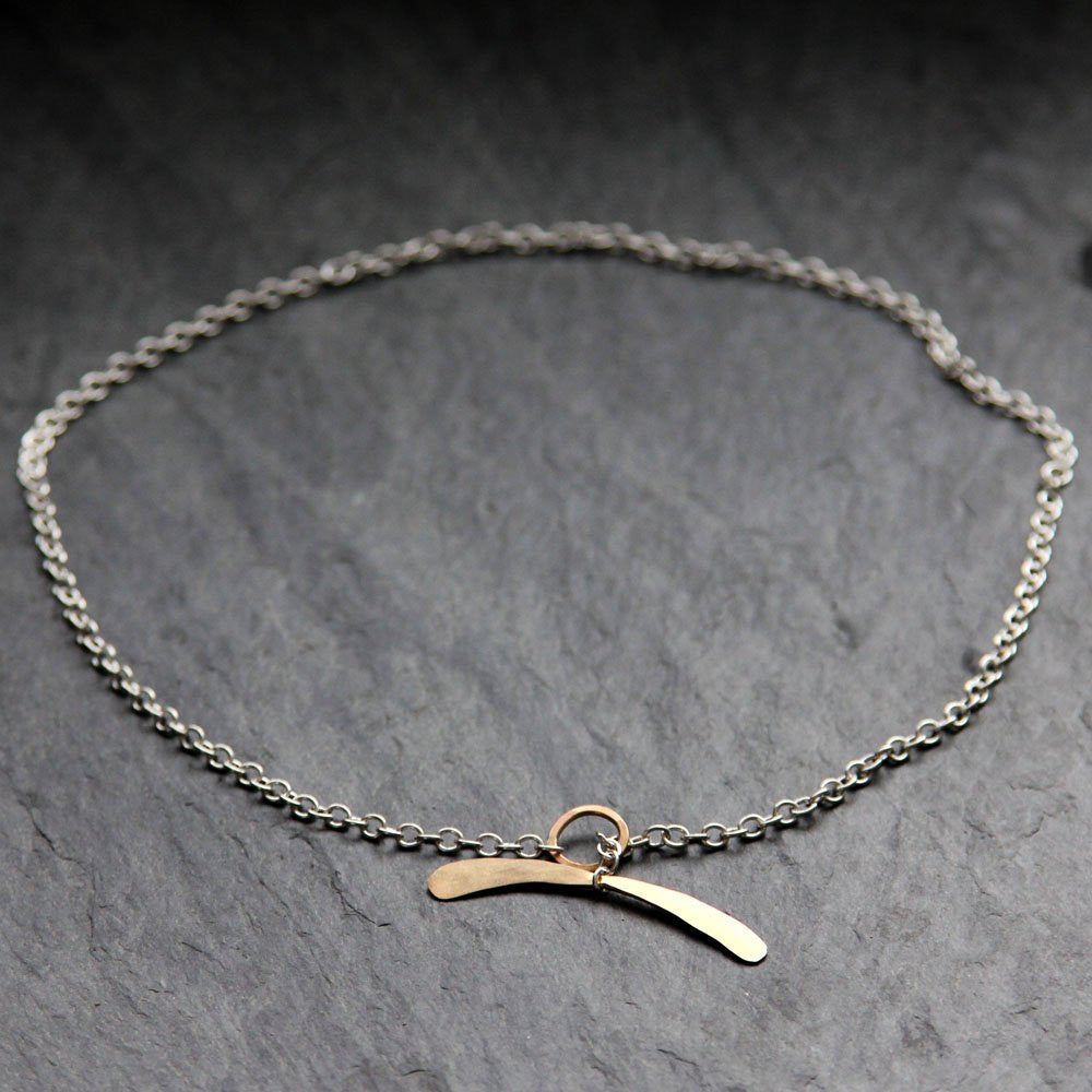 Whale Tail Necklace - Balancing Arc Focal Point on Delicate Chain
