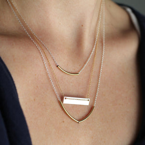 Cove Necklace - Modern Arced Tube Pendant on Simple Chain