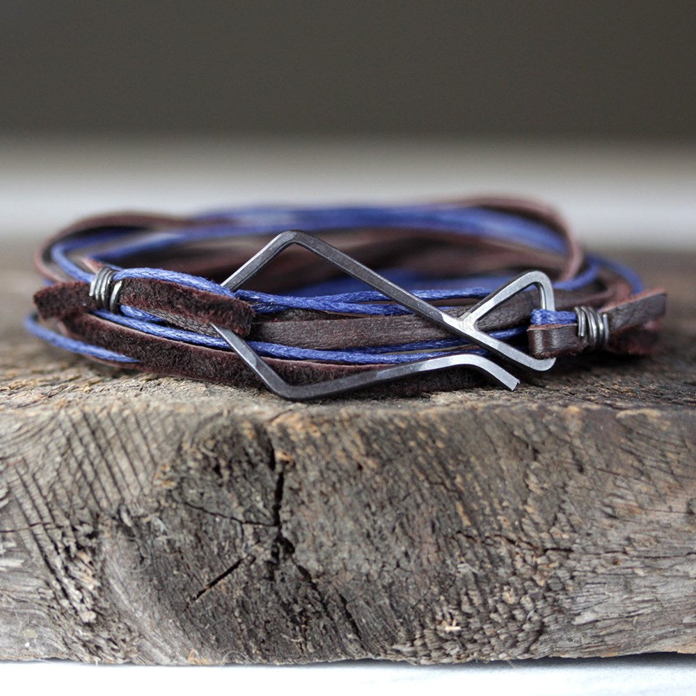 Hook Wrap Bracelet - Unisex Leather and Cotton Wrap Bracelet With Oxidized Silver Clasp