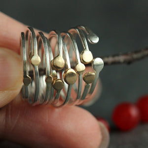 Satellite Stacking Rings, Sets of 2 or 4 - Handmade Bands with Accent Beads in Two Shape Varieties
