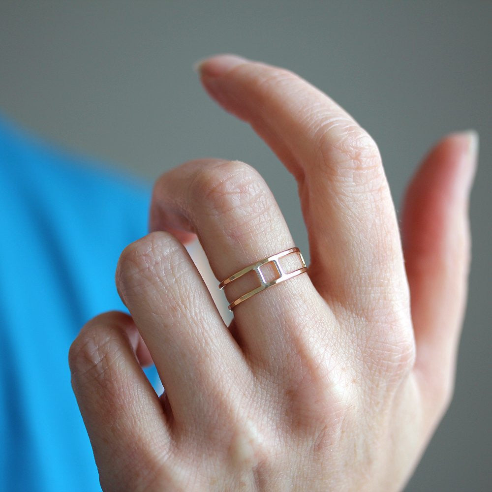 Pyra Ring - Adjustable Geometric Ring With Negative Space and Asymmetrical Line Details