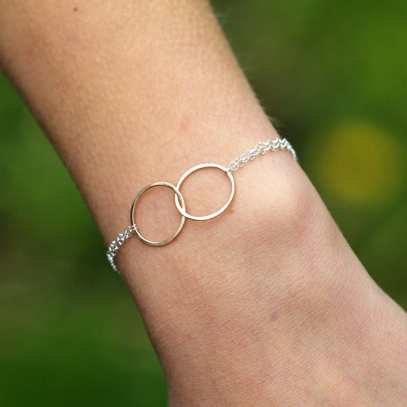 Friendship Bracelet - Linked Delicate Hammered Circles on Double Chains