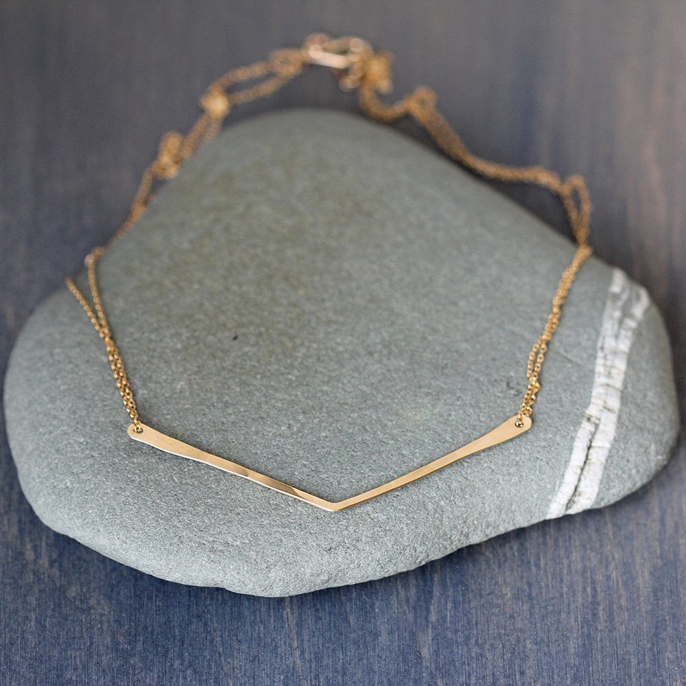 Chevron Necklace - Minimalist Geometric Handmade Necklace on a Delicate Double Chain