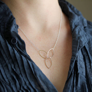 Lotus Necklace - Geometric Flower Design Made From Three Linked Ellipses