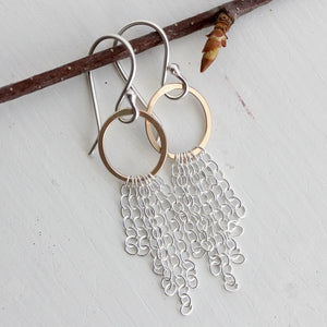Whisper Earrings - Delicate Understated Ovals With Soft Chain Fringe Detail