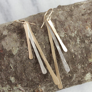 Fireworks Earrings - Shimmering Hammered Bar Earrings With Great Movement