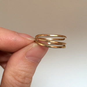Triple Wrap Ring - Hammered Multi Band Ring in Sterling Silver or 14k Gold Fill