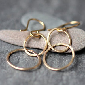 Sophie Earrings - Paired Minimalist Rings on French Hooks
