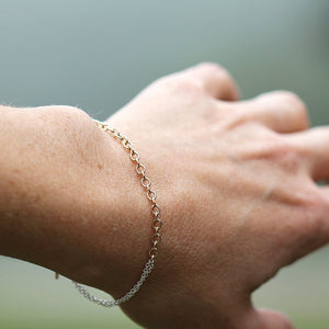 Slip Bracelet - Simple Layering Bracelet with Mixed Chains, Minimalist Understated Design