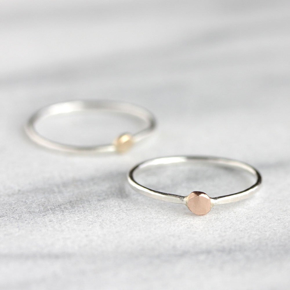 North Star Stacking Ring - Modern Band with a Single Droplet