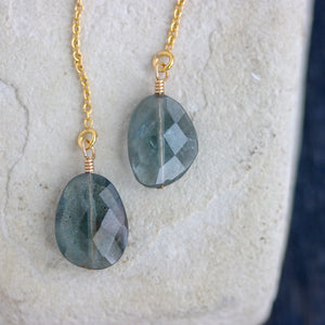 Faceted Aquamarine Threader Earrings