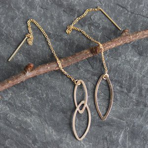 Asymmetrical Ellipse Threader Earrings