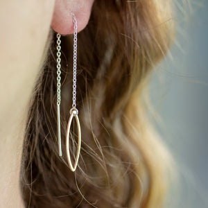 Ellipse and Chain Threader Earrings
