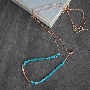 rose gold fill and natural turquoise layering necklace
